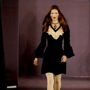 Anna Sui x Opening Ceremony Velvet Crochet Dress 0